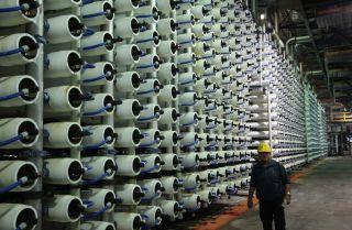 A desalination plant in Tel Aviv, Israel.