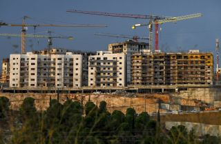 A picture taken on Nov. 12, 2020, shows a view of ongoing construction work at a Jewish settlement in the Israeli-annexed eastern sector of Jerusalem.