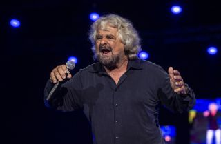 Comic Beppe Grillo, pictured here in Naples on Oct. 12, 2019, is a founder of Italy's anti-establishment 5-Star Movement.