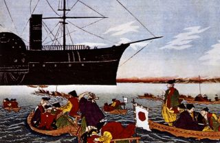 A print depicting U.S. Commodore Matthew Perry arriving in Japan in 1853.