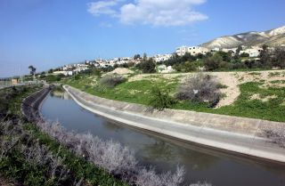 A photo shows a stretch of Jordan's King Abdullah Canal on March 12, 2018.