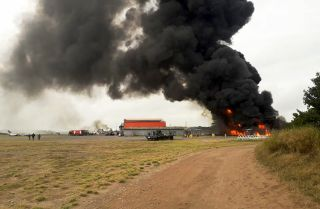 Smoke rises from a U.S. military base in Lamu County, Kenya, on Jan. 5, 2020, after an al Shabaab attack.