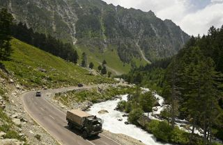 An Indian army convoy makes its way toward Leh, a town near the Chinese border in Ladakh, on June 17, 2020.