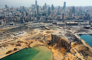 The port of Beirut on Aug. 7, 2020, after a massive blast caused widespread devastation in the Lebanese capital.
