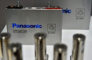 A lithium ion battery is on display at a technology trade show in the united states.