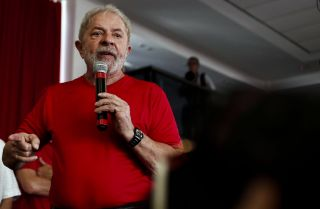 Former Brazilian President Luiz Inacio Lula da Silva speaks to supporters in Sao Bernardo do Campo on Jan. 24, 2018.