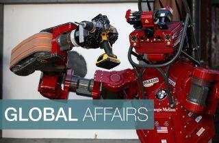 Team Tartan Rescue's CHIMP (CMU Highly Intelligent Mobile Platform) competes in the 2015 Robotics Challenge in Pomona, California.