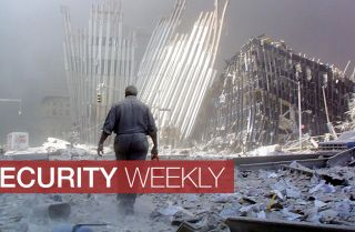 A man walks through the rubble left by the collapse of the south tower of the World Trade Center on Sept. 11, 2001.