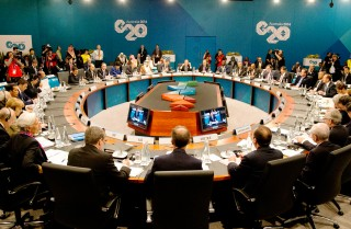Leaders meet Nov. 15 during a plenary session at the G-20 summit in Brisbane, Australia.
