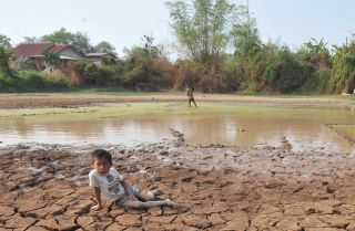 A son waits while his father fishes in their family's rice field outside the Laotian capital Vientiane, near the Mekong River, on March 27, 2010. Severe droughts have depleted the river waters to historic lows, leaving rice fields dry and unproductive.