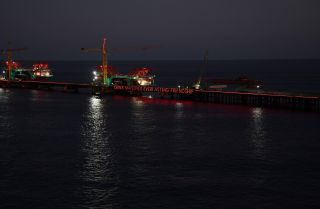 The China-Maldives Friendship Bridge is under construction in Male, the Maldivian capital.