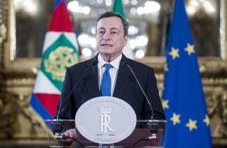 Italian Prime Minister Mario Draghi-designate speaks to the media on Feb. 3, 2021, in Rome.
