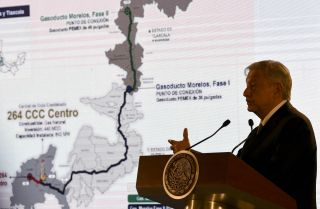 "Mexican President Andres Manuel Lopez Obrador speaks during a press conference in Mexico City, Mexico, after announcing his plan to ""rescue"" Mexican oil company Petroleos Mexicanos (Pemex) on Feb. 8, 2019."