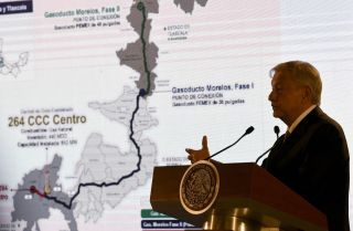 Mexican President Andres Manuel Lopez Obrador speaks during a press conference in February 2019.