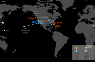 This map shows the approximate locations of U.S. Carrier Strike Groups and Amphibious Ready Groups.