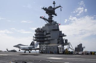 This picture shows the newest and most advanced carrier in the U.S. fleet, the USS Gerald R. Ford (CVN-78).