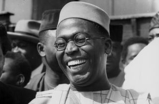 Nigeria's Obafemi Awolowo arrives in London on May 10, 1957.