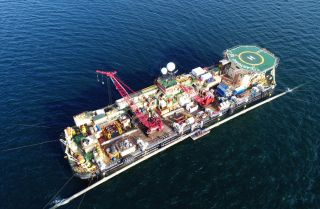 This photo shows the pipeline-laying vessel Castoro 10 working on the Nord Stream 2 pipeline project.