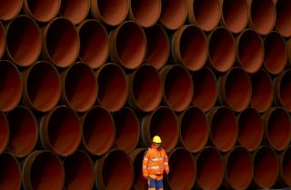 Pipes for the Nord Stream 2 pipeline lie stacked in Sassnitz, Germany, on Oct. 19, 2017.