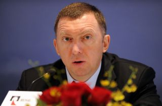 Oleg Deripaska, CEO of Russian metals giant RUSAL, speaks during a press conference in Hong Kong on April 12, 2009.