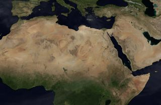 A satellite image of the Middle East and North Africa.