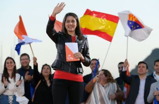 Ines Arrimadas, a leader of Spain's center-right Ciudadanos (Citizens) party, campaigns in Barcelona on April 25, 2019.