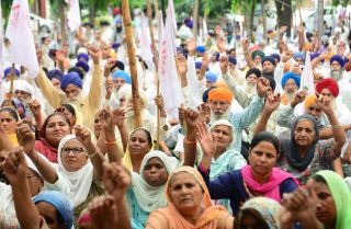 Farmers in Amritsar, India, rally against the government's participation in talks to join the Regional Comprehensive Economic Partnership on Oct. 3, 2019.