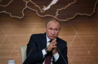 Russian President Vladimir Putin at his annual press conference on Dec. 19, 2019, in Moscow.