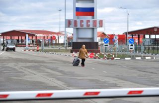 The Goptivka checkpoint, near Kharkiv on the Ukrainian-Russian border, on March 16, 2020.