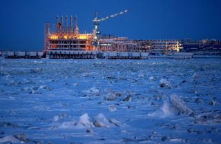 This photo from Feb. 25, 2017, shows the construction site of the second mooring facility of the Yamal LNG plant in the village of Sabetta.
