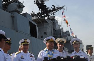 Rear Adm. Eduard Mikhailov, center, deputy commander of Russia's Pacific fleet, led a five-day visit of two Russian ships to the Philippines in January 2017.