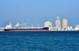 An oil tanker on Dec. 11, 2019, at the port of Ras al-Khair, Saudi Arabia.