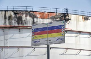 A damaged silo Nov. 24, 2020, at the Saudi Aramco oil facility in Saudi Arabia's Red Sea city of Jeddah.