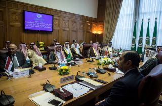 Saudi, Egyptian and Emirati officials convene in Cairo for a meeting Nov. 19 at the Arab League headquarters.