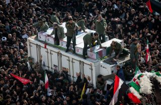The funeral procession for IRGC-Quds Force head Qassem Soleimani on Jan. 6, 2020, in Tehran, Iran, after his Jan. 3 death in a U.S. airstrike.