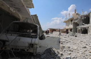 This photo, taken on Sept. 9, 2018, shows destruction in the town of al-Habit on the edges of rebel-held Idlib province.