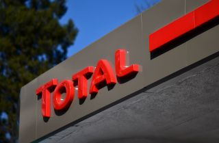 A photo of a sign of France's oil and energy company Total, taken in Mexico City on Jan. 17, 2018.