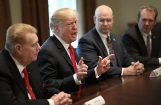 U.S. President Donald Trump speaks during a March 1, 2018, meeting at the White House with leaders of the steel and aluminum industries.