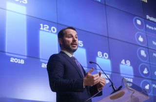 Turkish Treasury and Finance Minister Berat Albayrak speaks during the launch of Turkey's New Economic Program for 2020-2022 in Ankara on Sept. 30, 2019.