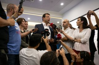Istanbul Mayor Ekrem Imamoglu speaks to reporters in Istanbul on Sept. 2, 2019, denying accusations from President Recep Tayyip Erdogan that he is linked with terrorists because he visited Diyarbakir following the removal of three Kurdish mayors in Southeast Anatolia.
