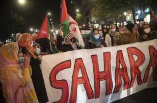 Women carrying Saharan flags take part in a demonstration in San Sebastian, Spain, to demand the end of Morocco's occupation in Western Sahara on Nov. 16, 2020.