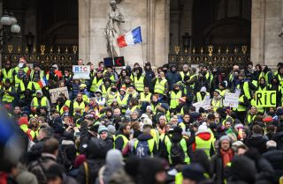 Yellow vest protesters gather at the Place de l'Opera in Paris on Dec. 15, 2018.