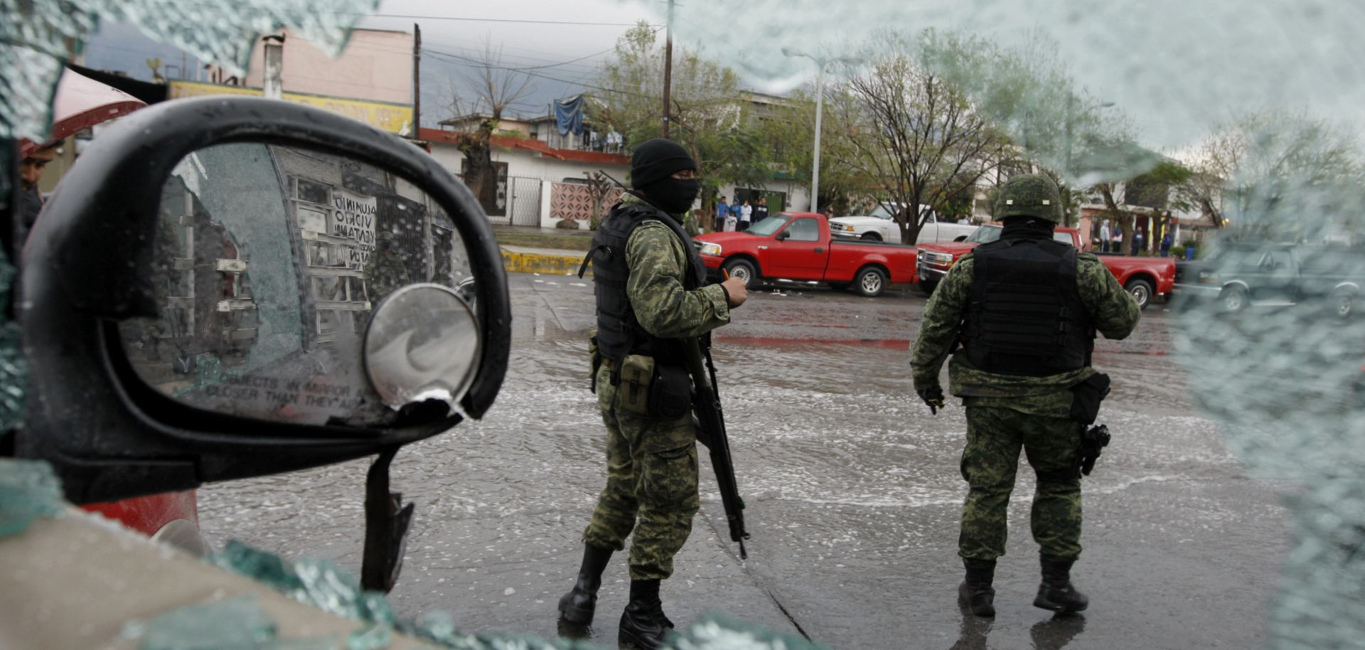 Soldiers in February 2012 in Monterrey, Mexico, at the scene of drug violence.