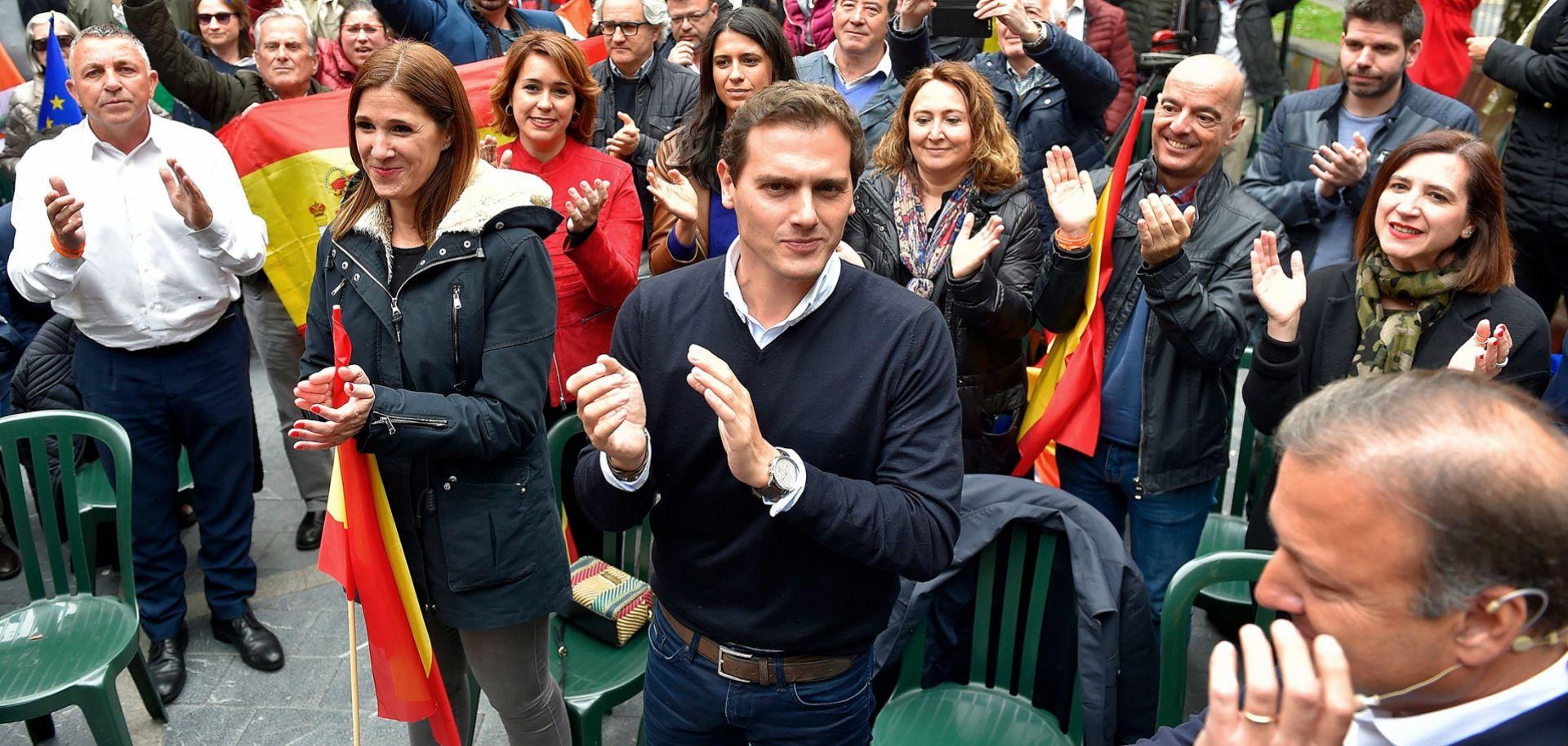 Albert Rivera, center, leader of Spain's center-right Ciudadanos (Citizens) party, leads a campaign rally in Renteria on April 14, 2019.