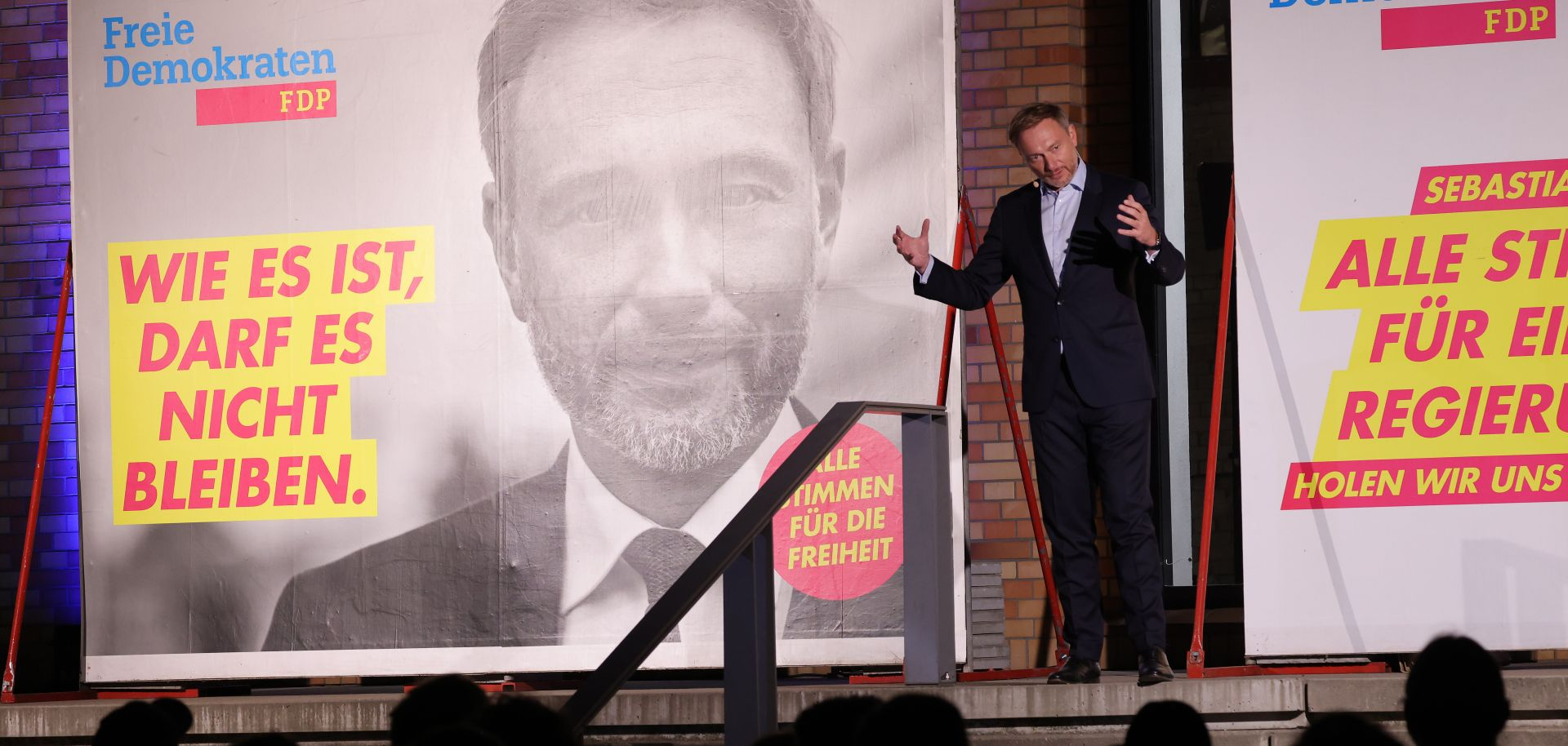 Christian Lindner, leader and lead candidate of the German Free Democrats (FDP), speaks at the concluding FDP election campaign gathering ahead of federal parliamentary elections on Sept. 24, 2021, in Berlin.