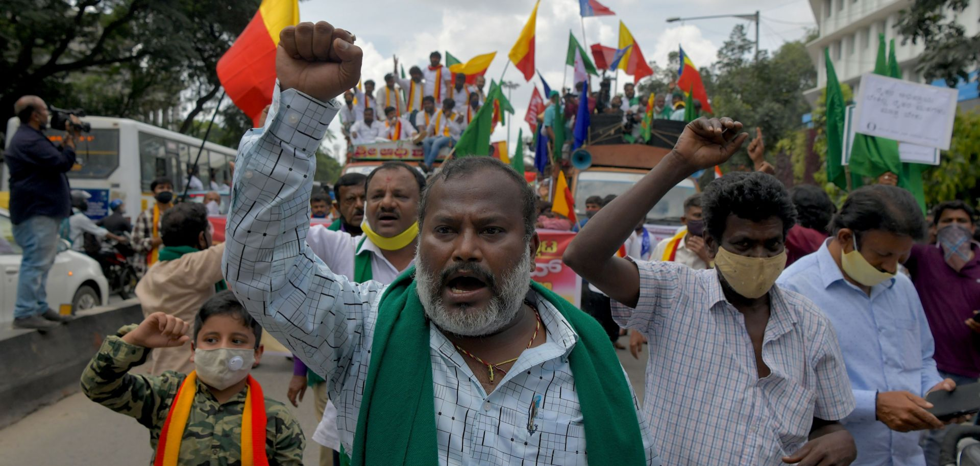 Farmers in Bangalore, India, stage an anti-government demonstration to protest against the recent passing of new agricultural reforms on Sept. 28, 2020.