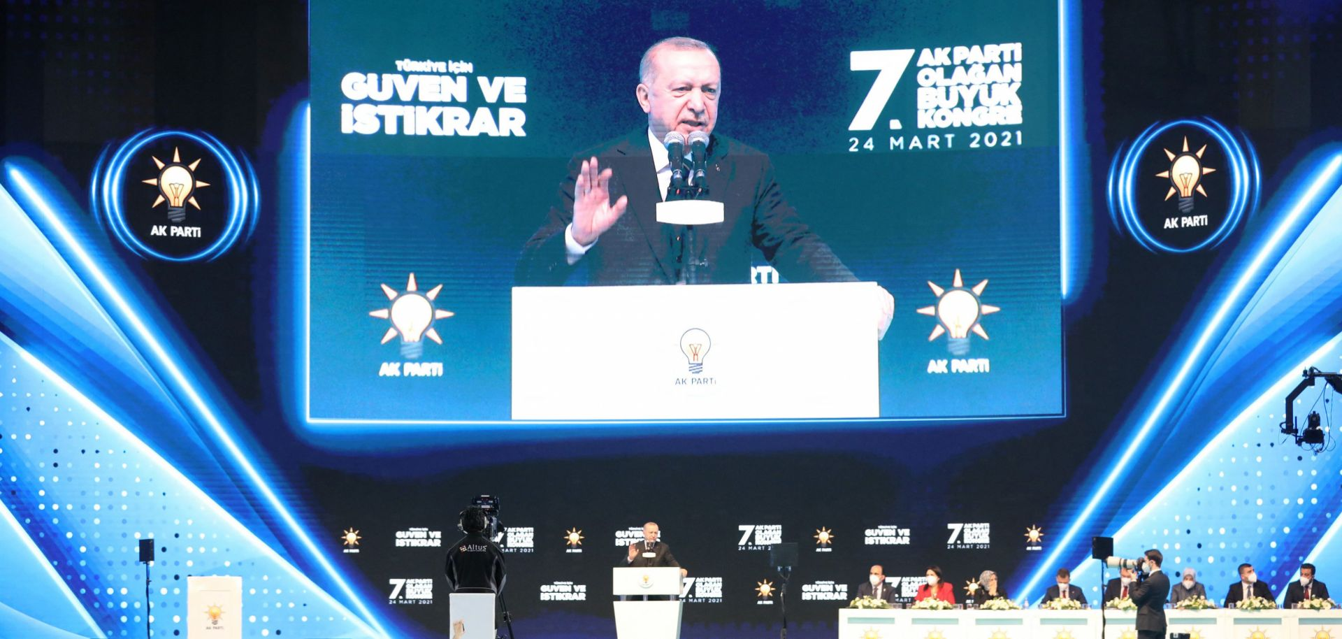 Turkish President Recep Tayyip Erdogan addresses supporters of his ruling Justice and Development Party during a political rally in Ankara on March 24, 2021.