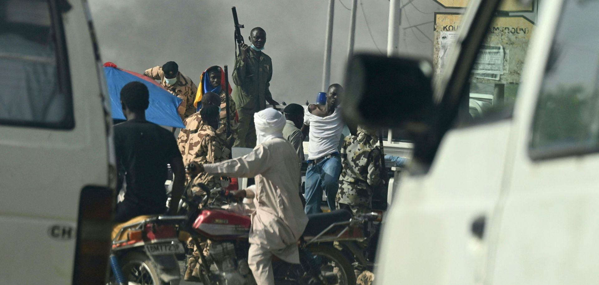 Police clash with opposition demonstrators in N'Djamena, Chad, on April 27, 2021.
