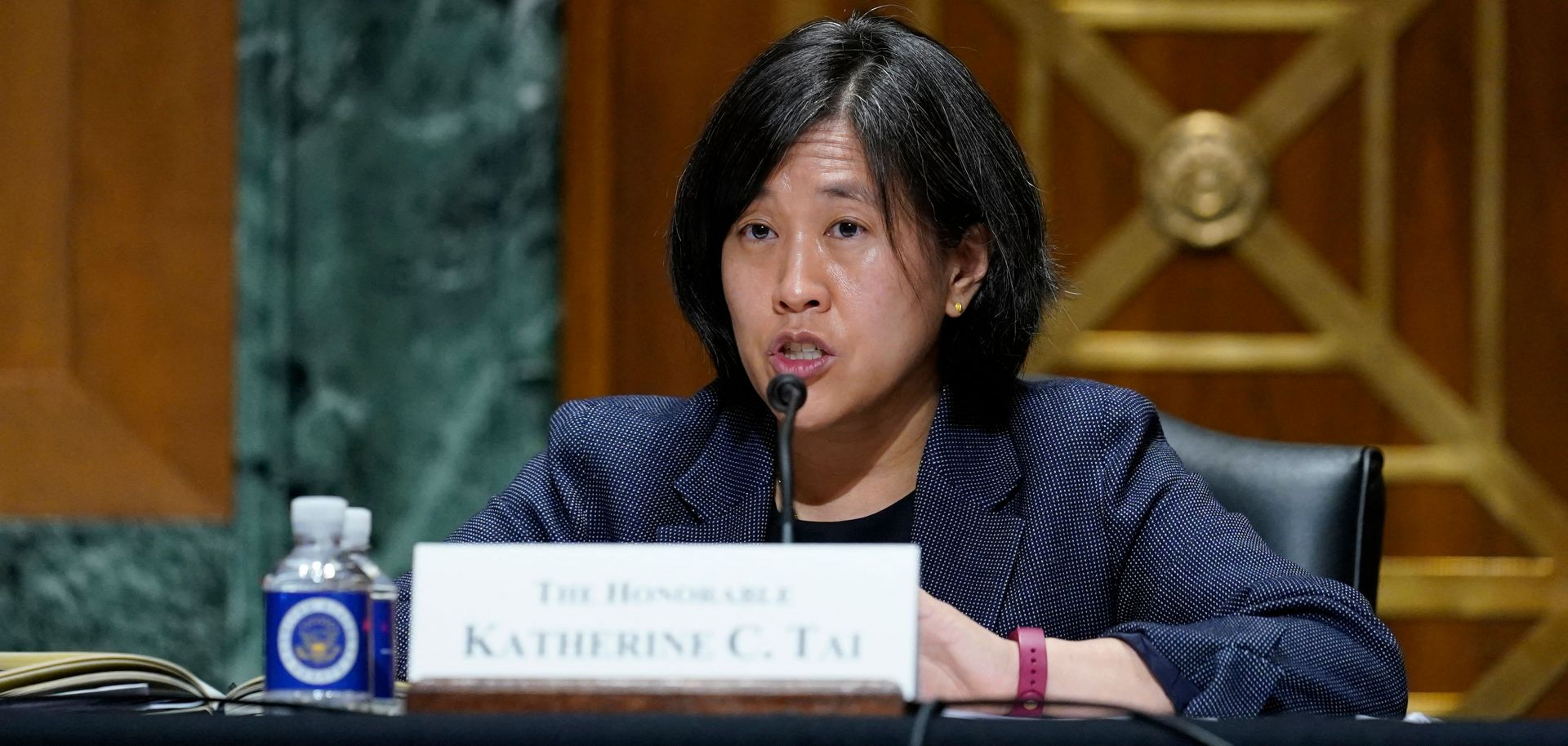 U.S. Trade Representative Katherine Tai fields questions about the White House's trade policy agenda from members of the Senate Finance Committee on May 12, 2021.