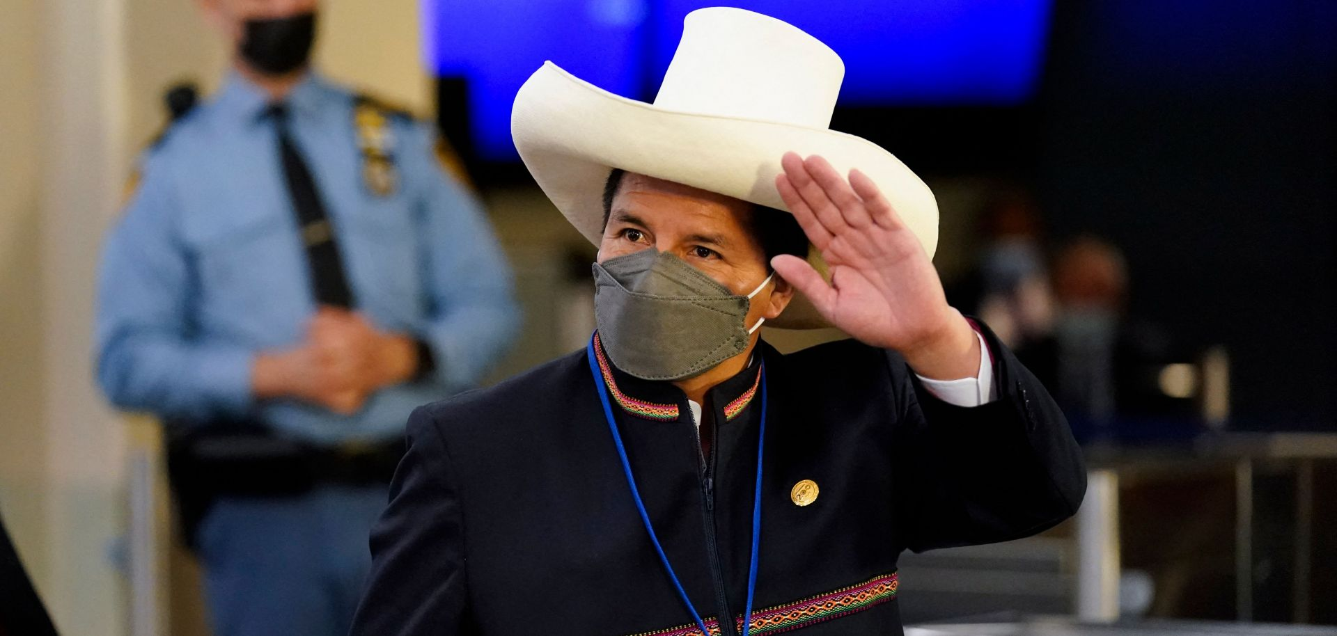Peruvian President Pedro Castillo arrives at the 76th session of the U.N. General Assembly on Sept. 21, 2021, in New York.